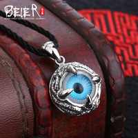 Beier new store 100% 925 thai silver sterling domineer eye pendant necklace four colour fashion jewelry free give rope A2245