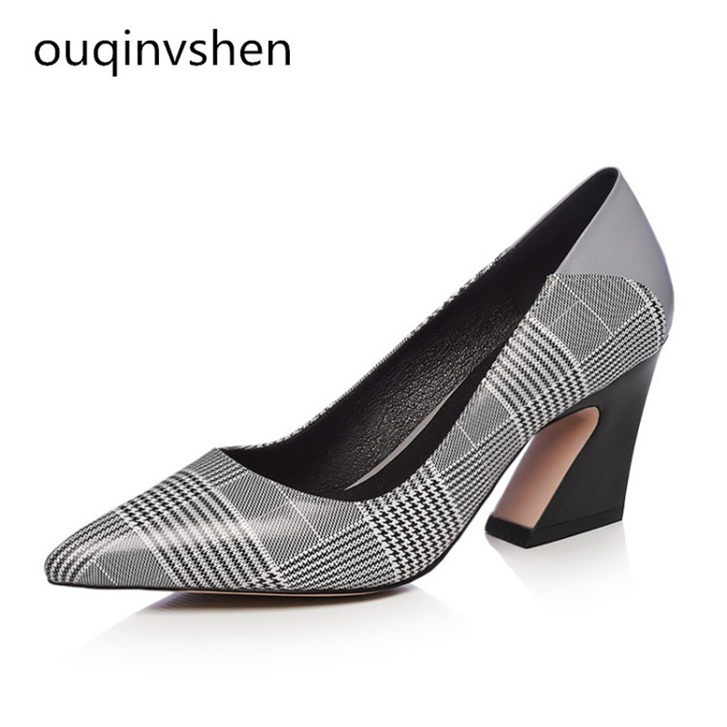 OUQINVSHEN Shallow Mouth Pointed Toe High Heels New Fashion Rough With Heel Pump Shoes Genuine Leather Women Shoes High Heels genuine large size single toe head high heels shallow mouth thin heel velvet shoes woman star with w824