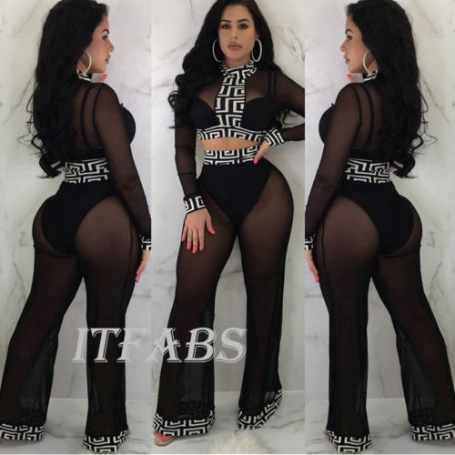 2018 New Fashion Hot Sexy Charmant Womens Tweedelige Outfits Lange Mouw Crop Top Wijde Pijpen Broek Set Casual Jumpsuit