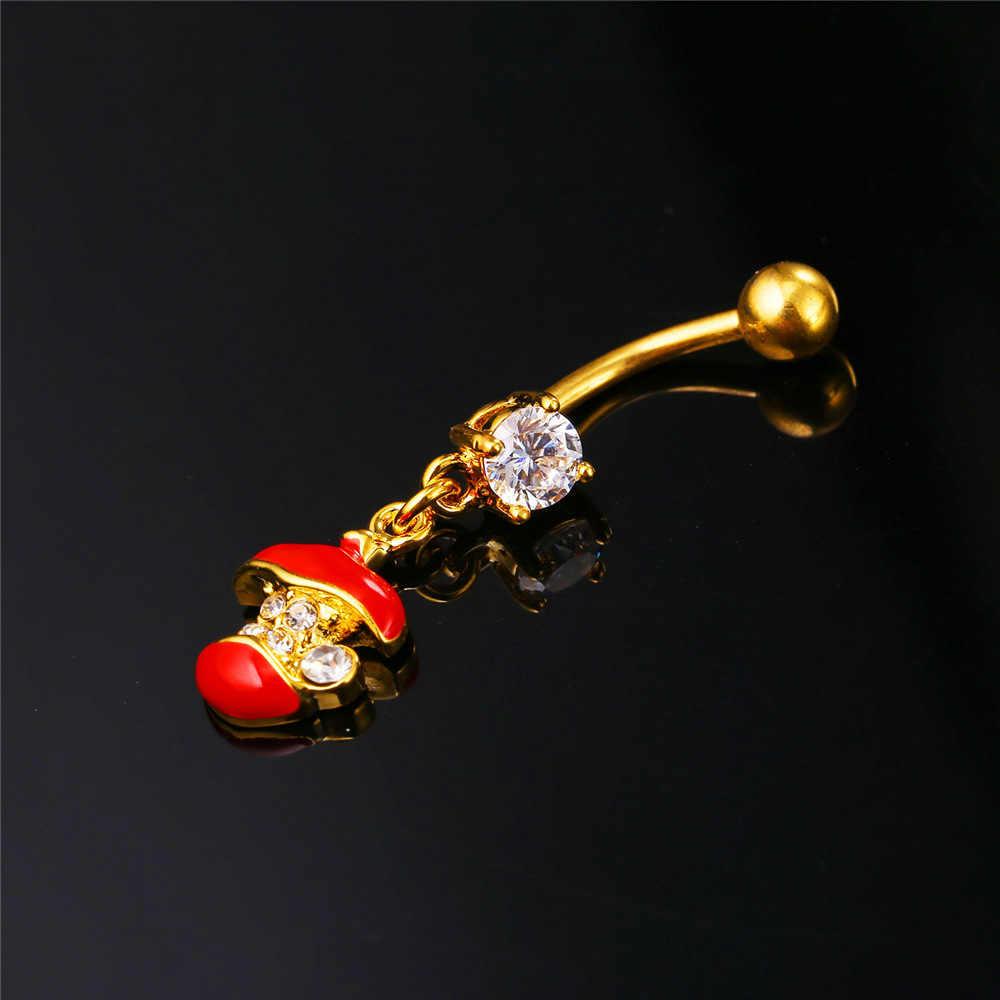 U7 Tinh Thể Màu Đỏ Dễ Thương Của Apple Belly Button Nhẫn Phụ Nữ Đồ Trang Sức Cơ Thể Vàng/Màu Bạc Dài Navel Nhẫn Giành Đồ Trang Sức DB014