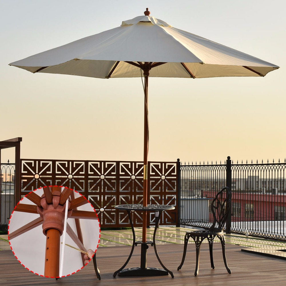 Goplus Adjustable 9FT Wooden Patio Umbrella Wood Pole Outdoor Garden Beach Sun Shade Beige Outdoor Furniture OP3124