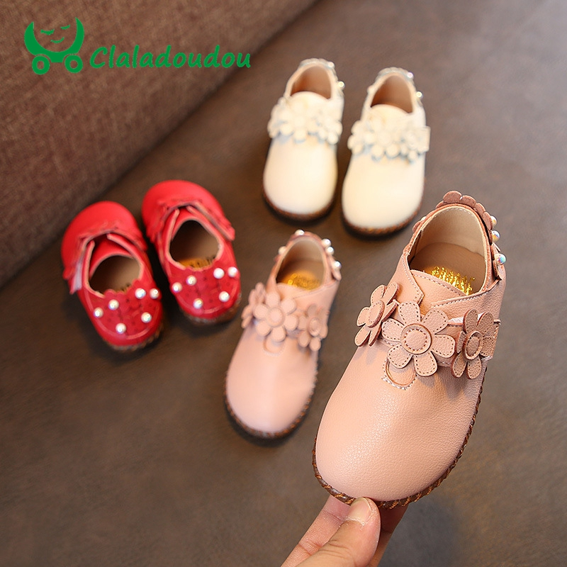 Claladoudou 13.5-15.5CM Girls Shoes Fashion Pearls Princess Red Flowers Round Toe Outwear School Shoes Toddler Lace Up Sandals