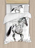 Horse Decor e Duvet Cover Set Powerful Appaloosa Stallion Graceful Royal Pure Blood Champion Equine Print 4 Piece Bedding Set