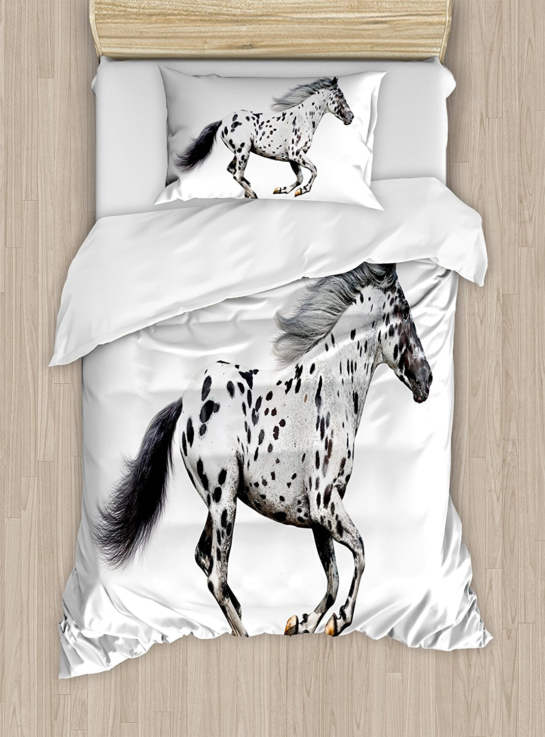 Horse Decor e Duvet Cover Set Powerful Appaloosa Stallion Graceful Royal Pure Blood Champion Equine Print 4 Piece Bedding Set ...