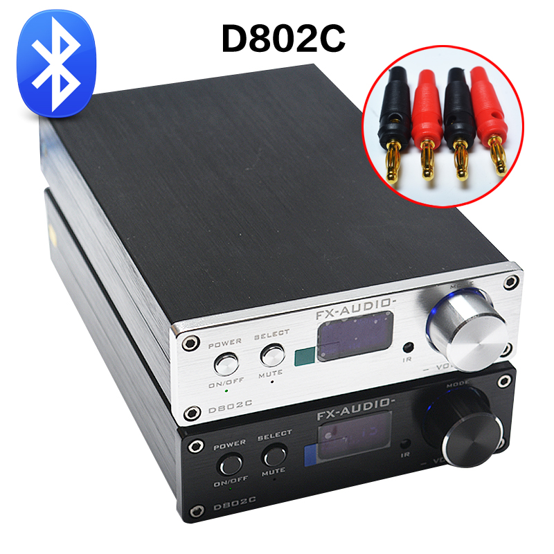FX-Audio D802C Wireless Bluetooth Version Input USB/AUX/Optical/Coaxial Pure Digital Audio Amplifier 24Bit/192KHz 80W+80W OLED