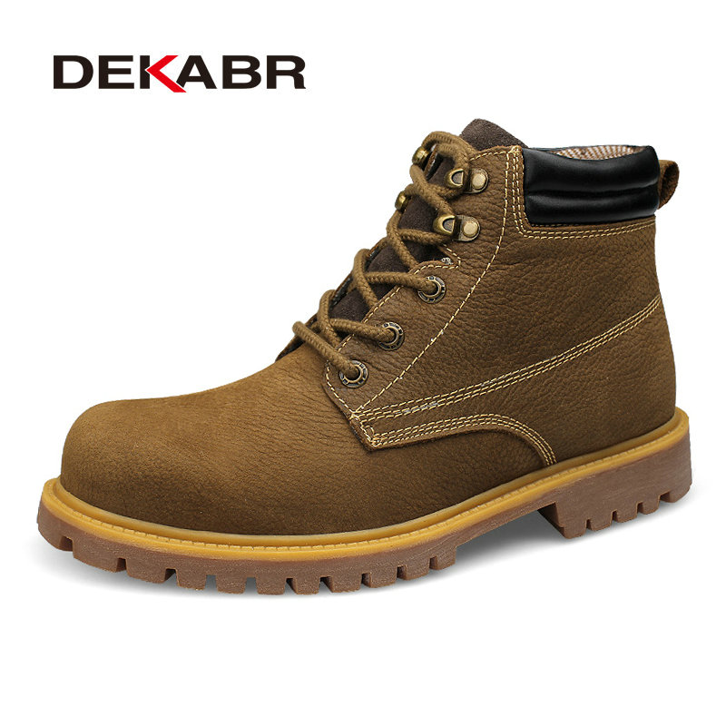 DEKABR Brand Men Boots Genuine Leather Lace-Up Warm Winter Fur Men's Military Boots Footwear Ankle Boots Plus Big Size 36~48