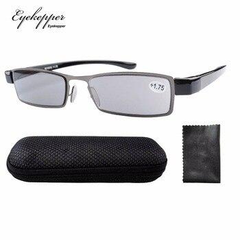77ef7356c0 R11019 lente gris Eyekepper patente ligero marco de acero inoxidable sol  lectores gafas de lectura + 1,00/1,25/1,50/ 1,75/2,00/2,25