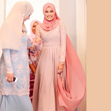 Oumeiya OMY188 Turkish Hijab Fashion Islamic Clothing Long Dress Long Sleeve Muslim Evening Dress Abaya Dubai Appliqu Dress