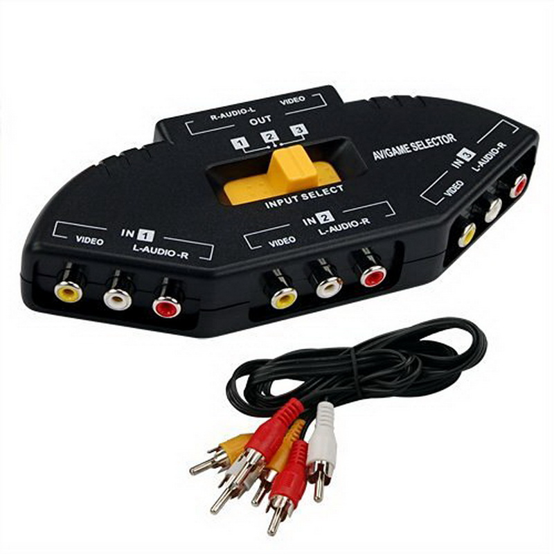Black New 3 Port AV Audio RCA Phono Selector Switchin KVM Switches