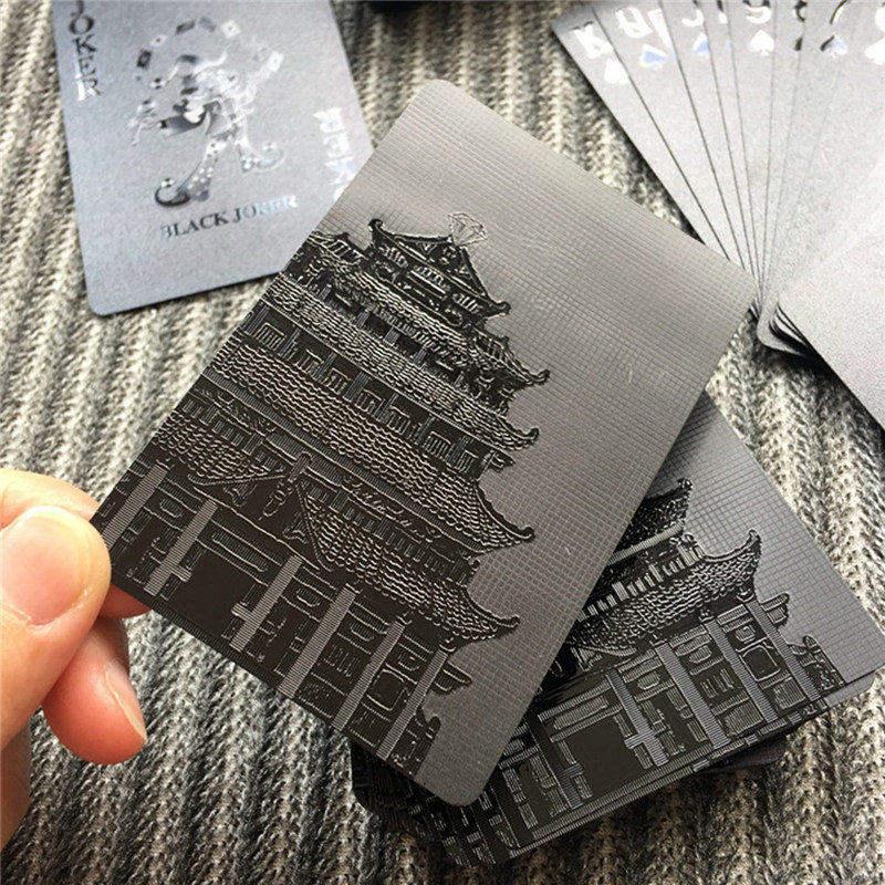 NEUE 54 stücke Wasserdicht Schwarz Kunststoff Poker Spielkarten Sammlung Schwarz Diamant Poker Karten Tabelle Spiel Magie Stilvolle Geschenk