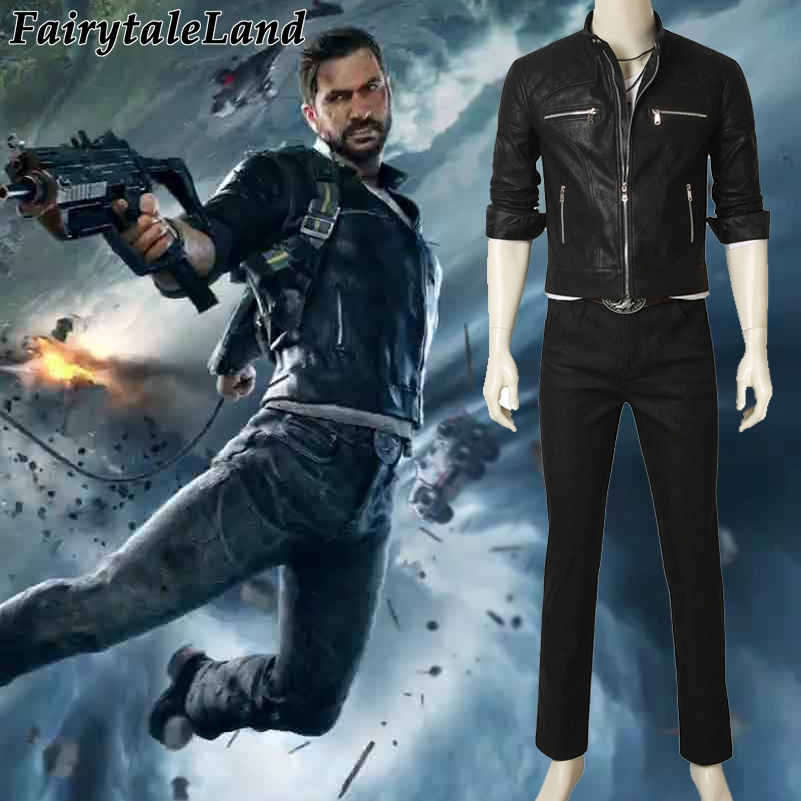 Just Cause 4 Cosplay Rico Rodriguez Cosplay Costume Hot Game Jacket&Belt&pants full set outfit custom made Black Uniform