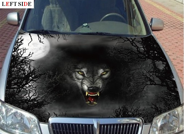 Left Side Car Hood Sticker Hd Inkjet Wolf Forest Car Hood