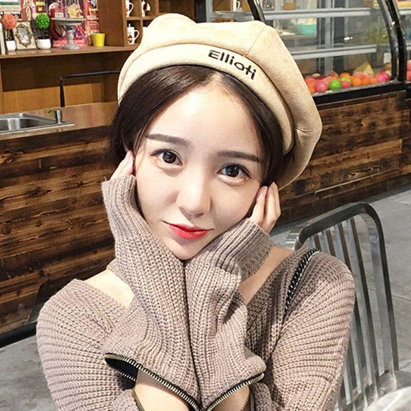 Edición de Corea nueva carta bordado Faux Suede boina femenina temporada Qiu Dong marea Joker pintor viento tapa octogonal en ENGL sombrero