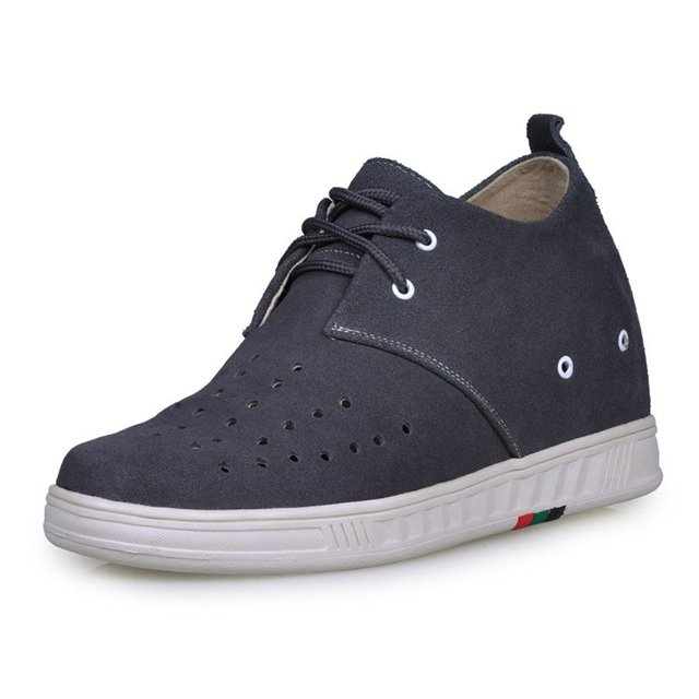 9091E - Gray suede leather casual shoes grow taller 7.0CM men sports shoes keep feet healthy&dry-7 colors for you.