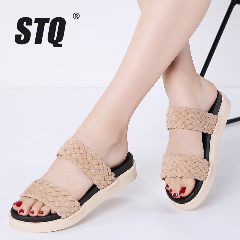 STQ Flat Sandals Woven Black Ladies Slippers Low-Heel 329 Slides