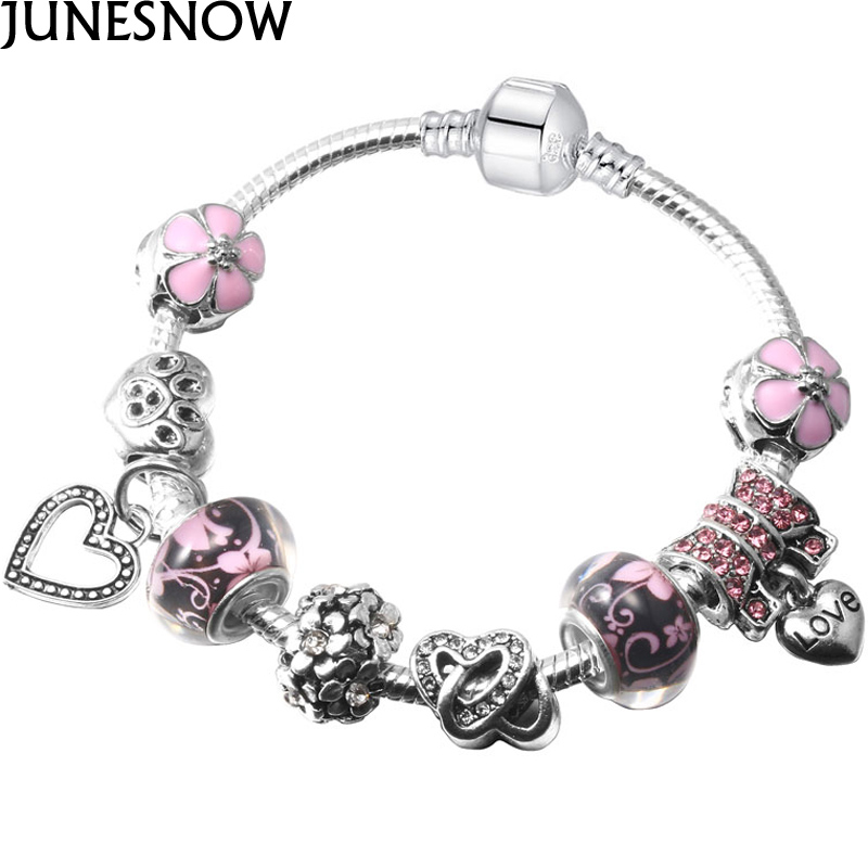 JUNESNOW 2017 New Arrival Silver Color Lovely And Pink Heart Flower Charms Bracelets For Women Fashion DIY Fine Jewelry Z052