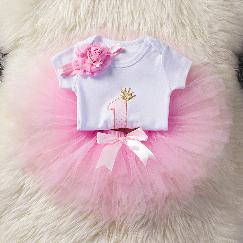 Sweet Pink Little Girl Princess Kids Clothes Girl Baby Clothing Set Children Costume Tutu One 1st Birthday Outfits Age 12 Months baby girl 1st birthday outfits short sleeve infant clothing sets lace romper dress headband shoe toddler tutu set baby s clothes