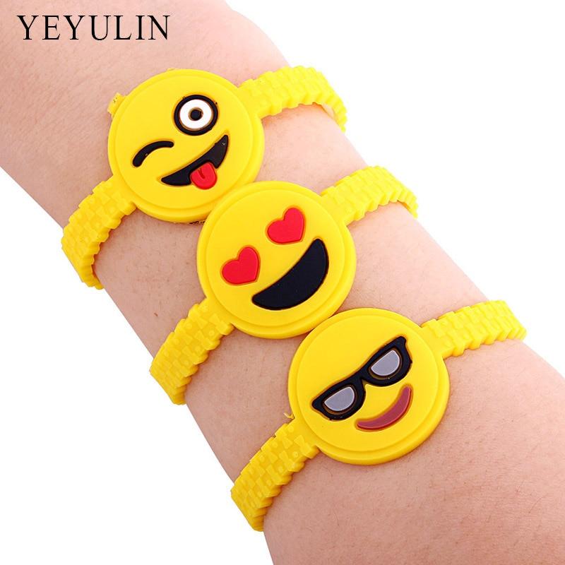 12pcs Trendy Cute Cartoon Emoji Wristband Rubber Bracelet Funny Expression Silicone Bracelets For kids
