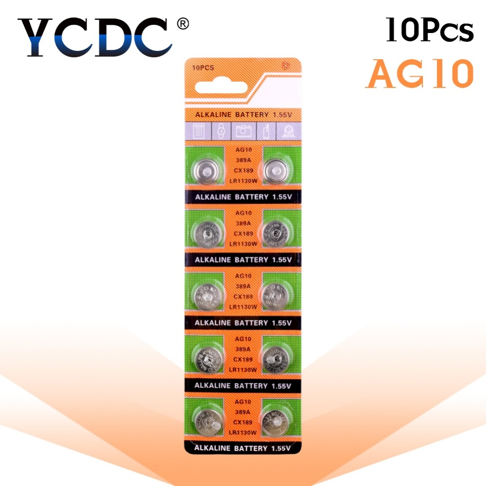Cheap 11.11 Hot Selling Watch Battery 10 Pcs 1.55V AG10 LR54 LR1130 L1131 389 189 Alkaline Batteries Button Cell Coin 51%off
