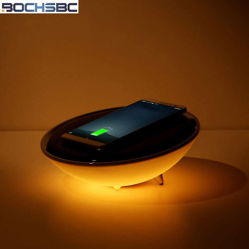 Lights & Lighting Fashion Style Bochsbc Wireless Charger Desk Lamp For Bedroom Half Moon Table Charger Lightss For Iphone X/8/8plus Seven Colors Changeable Lamp Utmost In Convenience