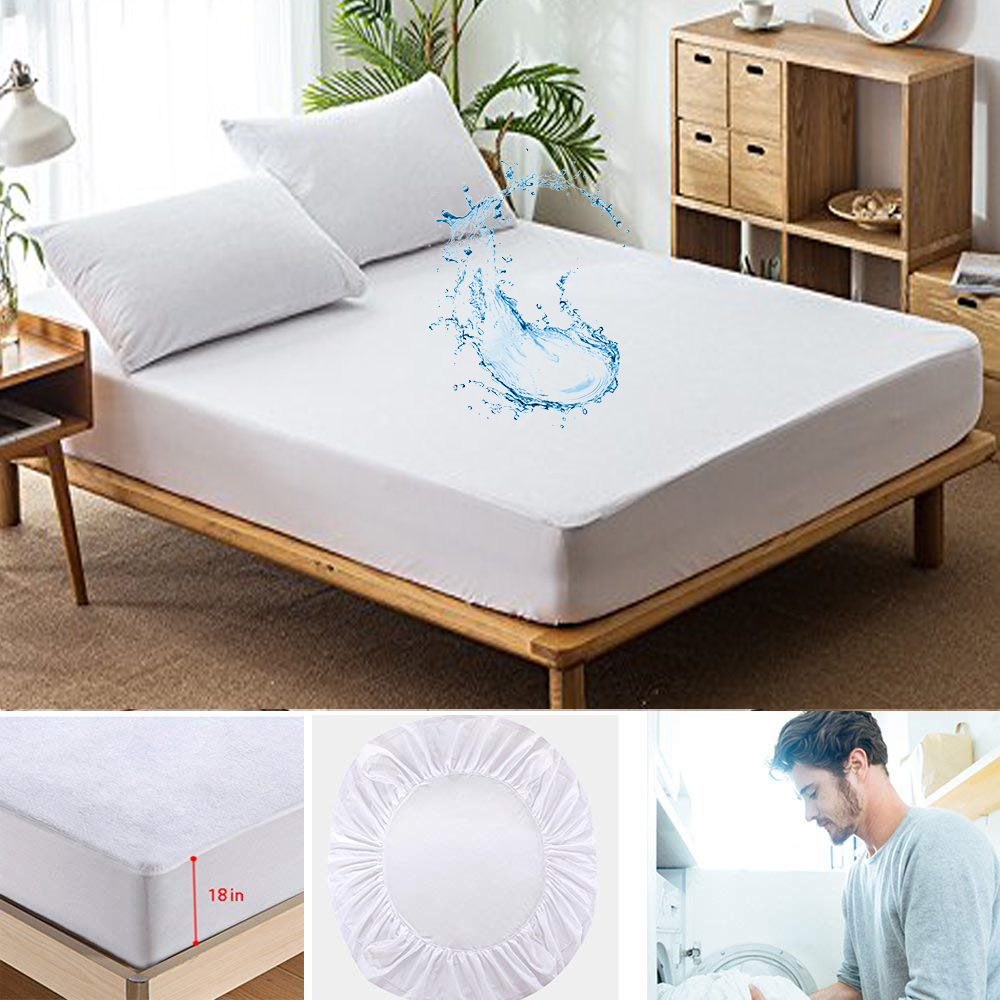 All Size Polyester Terry Waterproof Mattress Cover Elastic Waterproof Bed Sheet Anti Mites Bed Bug Proof Cover For Mattress Pad image