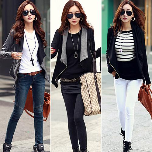 Women's Slim Casual Patchwork Zipper Turn-Down Collar Outerwear Cardigan Coat