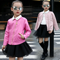New 2017 Spring Baby Girls Clothes Children Clothing Leisure Jacket Fashion Girls Leather Jacket Kids Clothes Age 3-15T