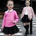 Novo 2017 Primavera Meninas Roupas de Bebê Roupas Crianças Moda Jaqueta de Lazer Jaqueta De Couro Meninas Miúdos Roupas Idade 3-15 T