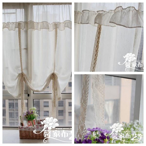 lino americano rustico volant laciness finestra tende di pizzo falbala cucina tenda caff cortinas per la