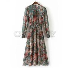 цены на Autumn Women Vintage Printed Dress Long Sleeve O Neck 2pcs Casual Chiffon Dress European Style Elastic Waist A-line Long Dress в интернет-магазинах