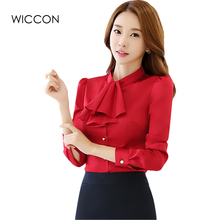 Фотография New Elegant Ruffles Shirt Women OL Formal Slim Bow Collar Long Sleeve Chiffon Blouse Office Ladies Work Wear Plus Size WICCON