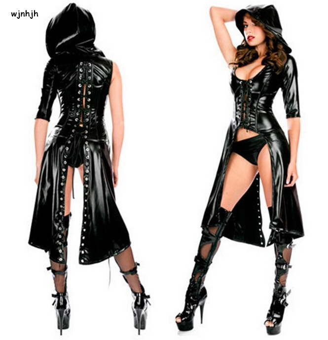 New Listing Sexy Faux Leather Costume Women Latex Stage Clothing Rubber Sex Lingerie Clubwear Exotic Teddies Jumpsuit Bodysuit