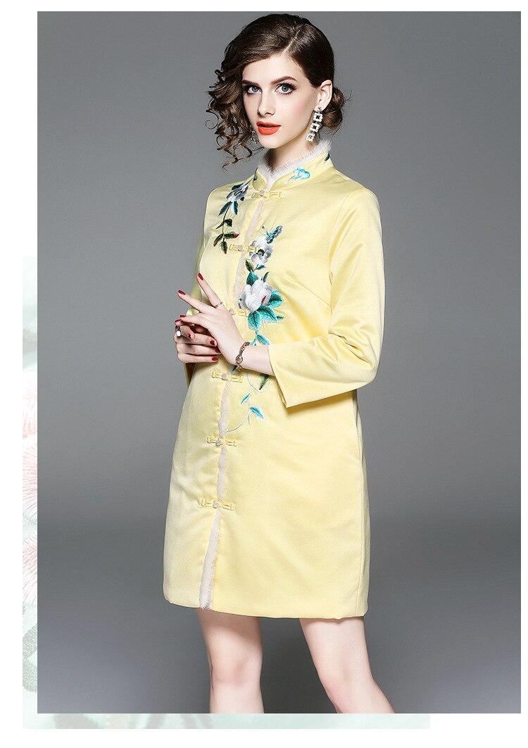 Brodé Cheveux Chinois Original Veste yellow Bouton Red Doublure Pour Pan Femmes Cheongsam Fleur Vison Style Avec Bord Hiver En Coton nIYqBx5RR