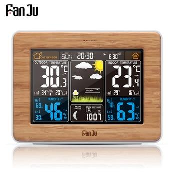 FanJu fj3365 Weather Station Color Digital Clock Temperature Humidity Sensor Thermometer Forecast Desk Table LED Alarm Clock