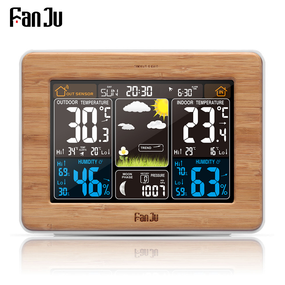 FanJu fj3365 Weather Station Color Digital Clock Temperature Humidity Sensor Thermometer Forecast Desk Table LCD Alarm Clock