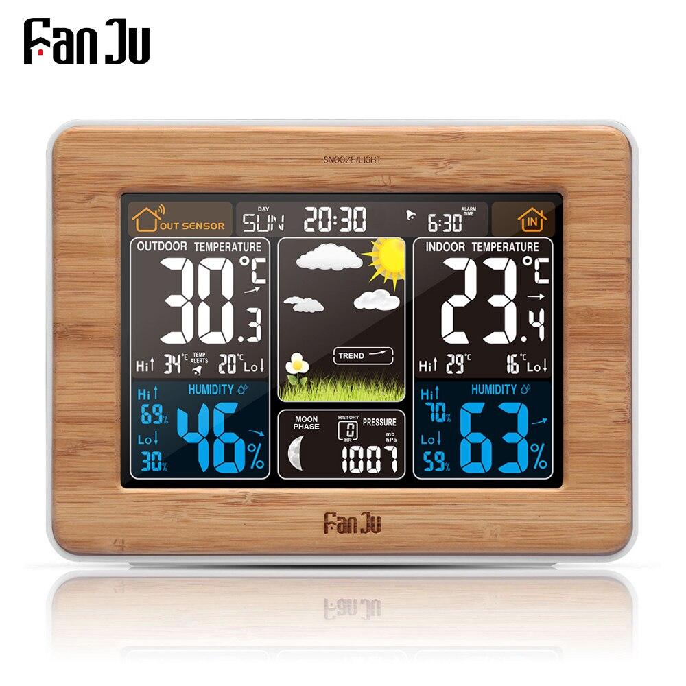 FanJu fj3365 Wetterstation multifunktions Digitaluhr Temperatur Luftfeuchtigkeit thermometer prognose Schreibtisch Tisch LCD Wecker