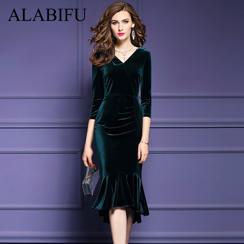 ALABIFU Spring Summer Dress Women 2019 Vintage Mermaid Velvet Dress Sexy  Bodycon Long Party Dress ukraine 62382d31b82b