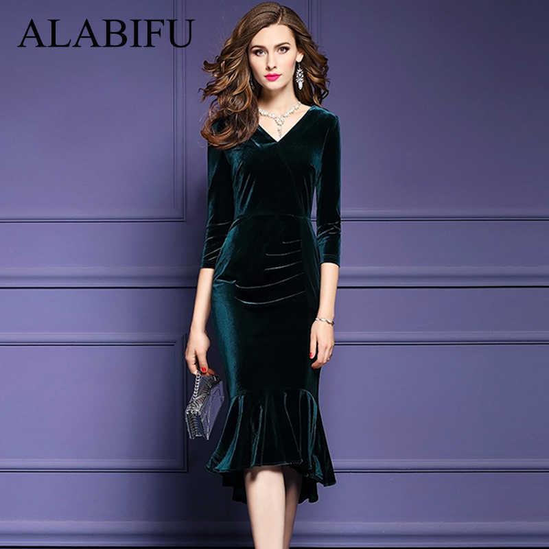 2cfbe53d3a81 ALABIFU Spring Summer Dress Women 2019 Vintage Mermaid Velvet Dress Sexy  Bodycon Long Party Dress ukraine