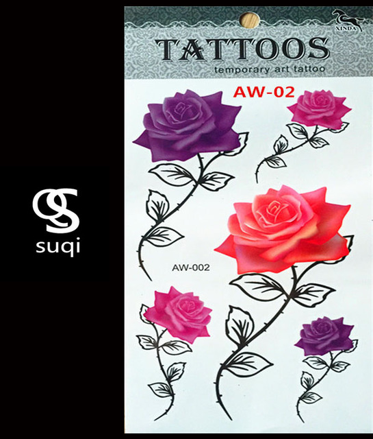 Aw 02 3d Temporaire Tatouage De Tatouage Flash Flash Lumiere Rose