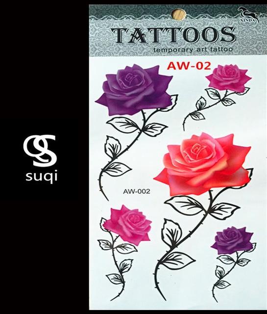 Aw 02 3d Tijdelijke Tattoo Tattoo Flash Flash Light Rose Kleur
