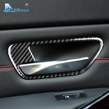 Airspeed 2PCS Carbon Fiber Car Interior Door Handle Cover Trim Door Bowl Stickers for BMW M4 F82 Accessories Car-styling image