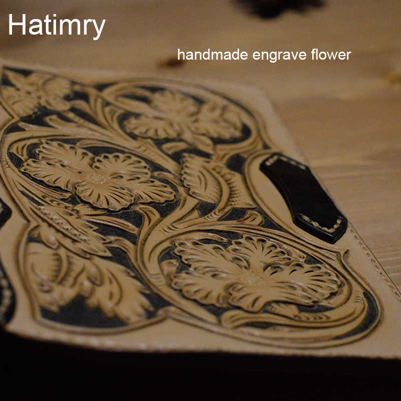 Hatimry Genuine leather journal notebook tavelers books handmade vintage engrave flower on leather cover books school supplies