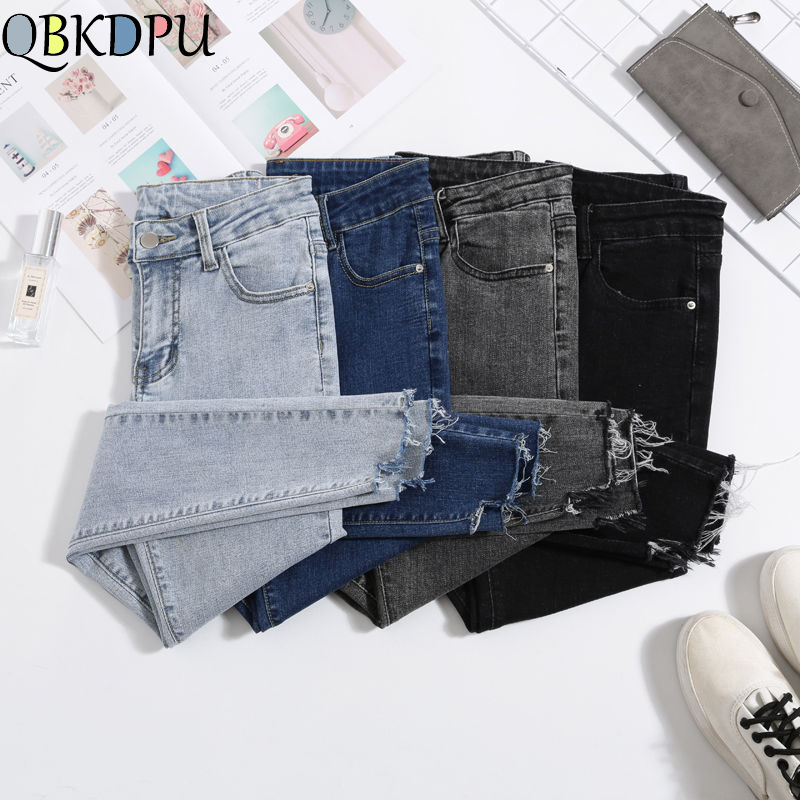 Women Jeans Plus Size High Waist Stretch Washed Skinny Stretch Jeans Female Denim Pants 2019 Pencil Pants Light Blue Gray Black