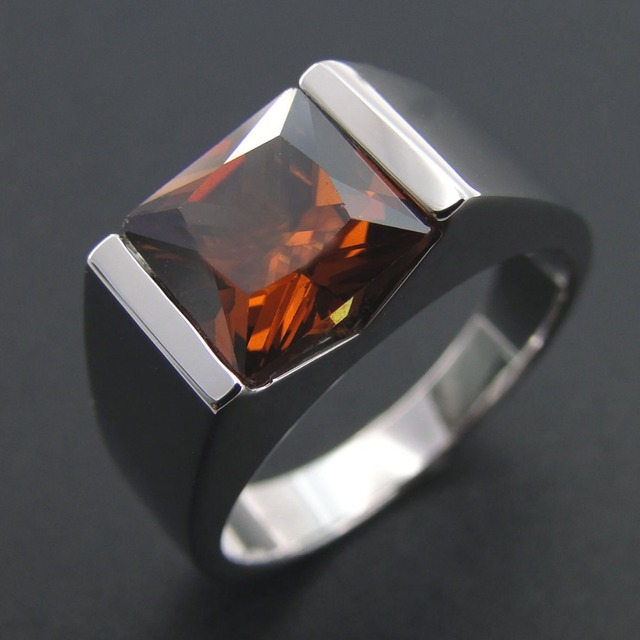 100 925 Sterling Silver Men Ring Genuine Smoky Quartz Ring Wedding
