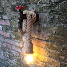 Retro loft rope water pipe wall lamp light stair corridor aisle bedroom living room restaurant pub cafe lamp wall sconce bra retro lamp wall sconce modern wall light glass ball dining bedroom e27 wall lamp restaurant aisle corridor pub cafe wall lights
