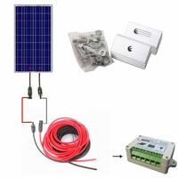 США наличии 100 Вт Полный комплект: 100 Вт Панели солнечные + 10 м Солнечный Кабель + 15A ШИМ Контроллер заряда + Z кронштейн крепления