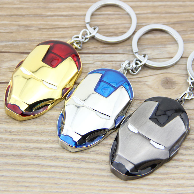 1PCS Marvel Super Hero The Avengers Iron Man Mask Metal Keychain Pendant Key Chain chaveiro llaveros porte cle