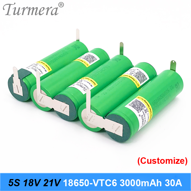 5s 18v 21v battery 18650 pack 18650 vtc6 3000mah 30a soldering battery for screwdriver battery and vacuum cleaner customized image