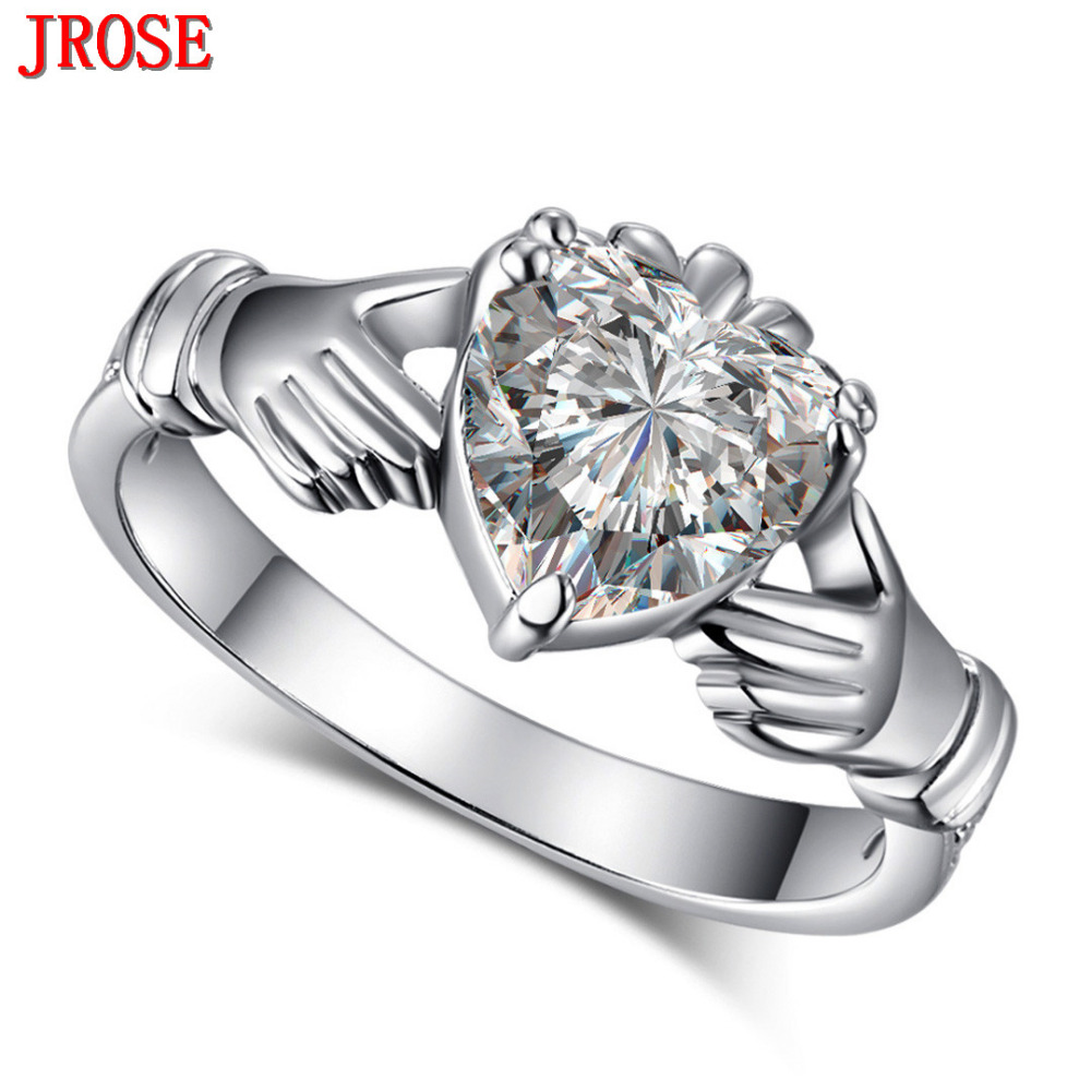 Jrose Dazzling Charming Heart Jewelry White Cz White Gold Color Engagement  Ring Size 6 7 8
