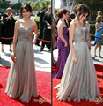 Red Carpet Dresses 2017 A-line Sweetheart Floor Length Silver Tulle Beaded Long Famous Imitation Celebrity Dresses